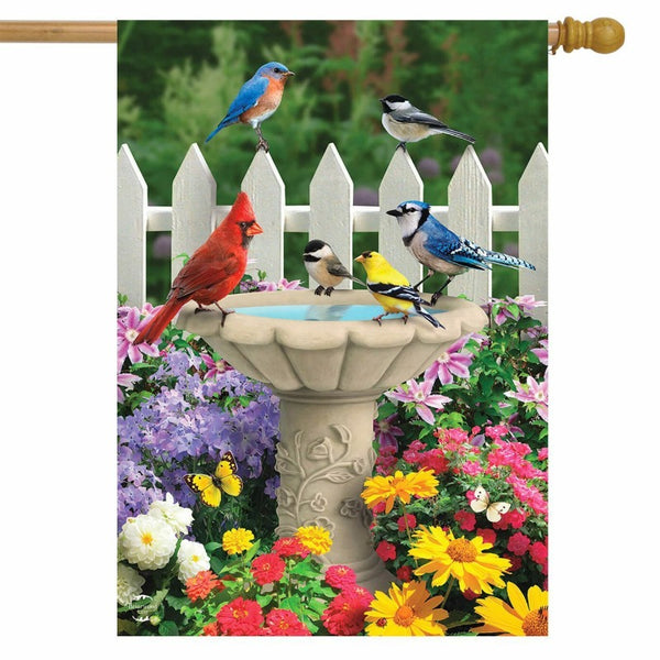various birds around a fountain with flower background flag