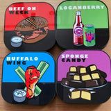 BUFFALO THEMED COASTERS SHOWING: BEEF ON WECK, LOGANBERRY DRINK. BUFFALO WINGS, AND SPONGE CANDY