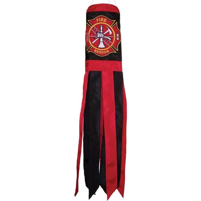 fire rescue emblem on the top of the windsock with a red and black theme and alternating colored tails