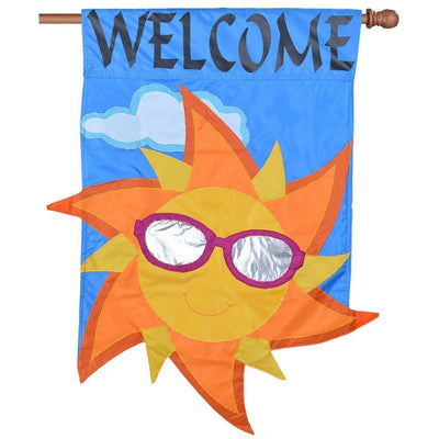 "blue flag with yellow and orange sun wearing sunglasses and the word ""welcome"" at the top"