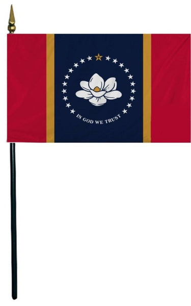 mississippi state flag on a black stick with gold spear