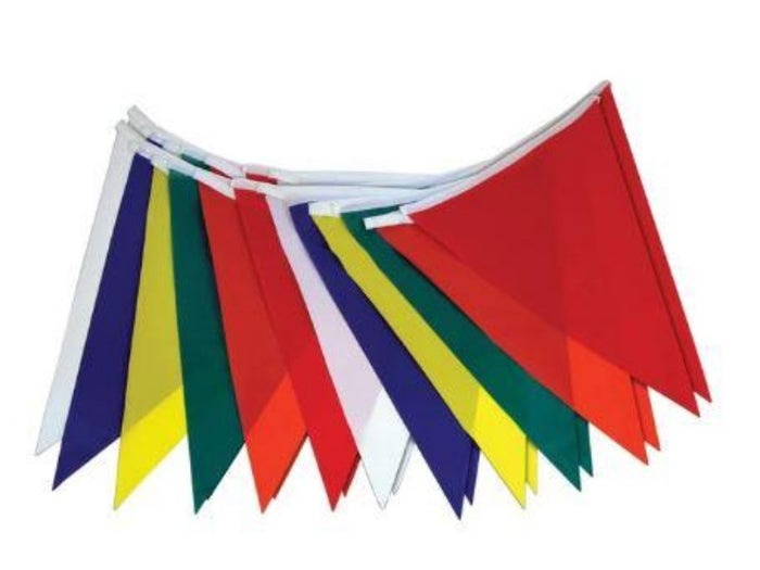 multi colored v shaped pennants on a string