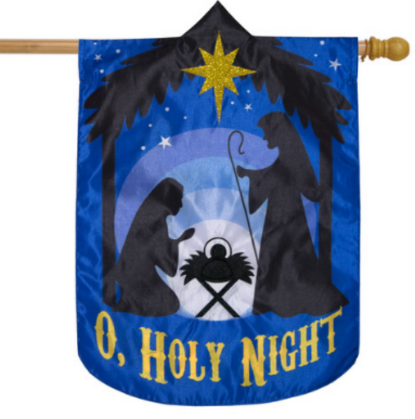 O, HOLY NIGHT APPLIQUE BANNER FLAG