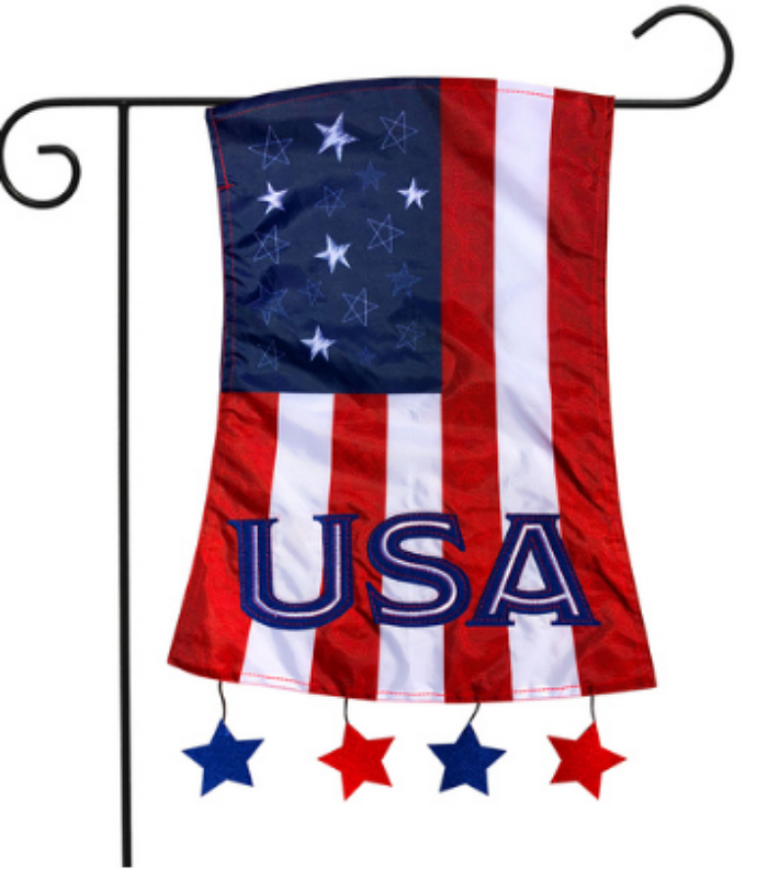 PATRIOTIC APPLIQUE GARDEN FLAG