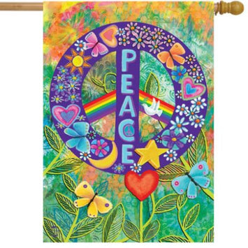 peace flag with a colorful background and purple peace sign and the word