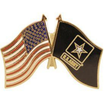 US ARMY DUAL FLAGS LAPEL PIN (Large)
