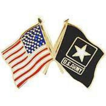 US ARMY DUAL crossed FLAGS LAPEL PIN (Small)