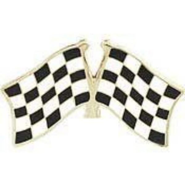crossed DUAL CHECKERED FLAGS LAPEL PIN