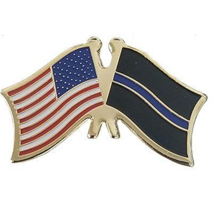 THIN BLUE LINE crossed DUAL FLAGS LAPEL PIN
