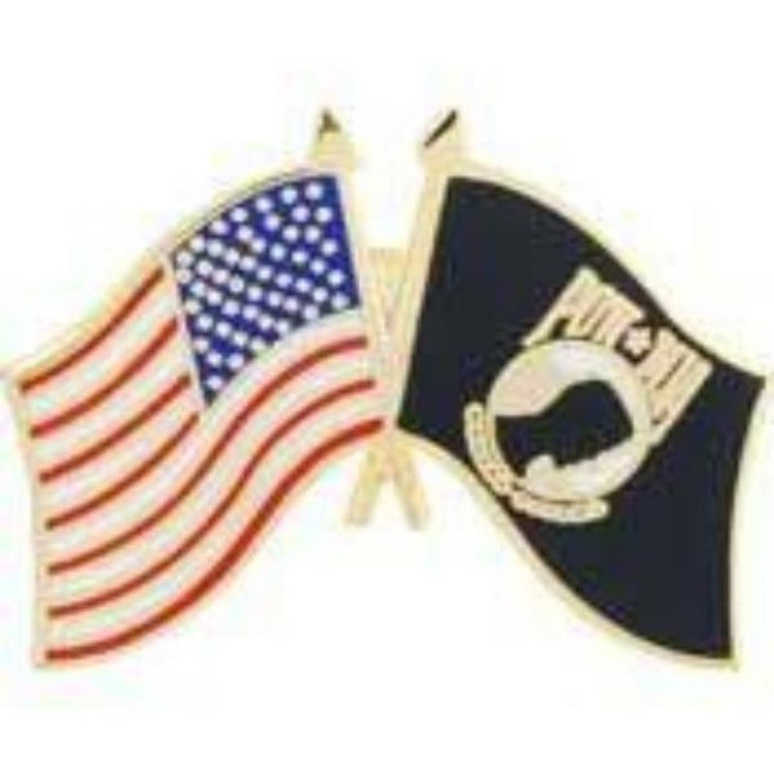 POW-MIA DUAL crossed FLAGS LAPEL PIN (Large)