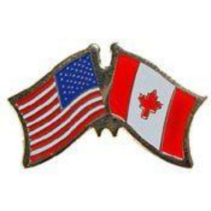 USA/CANADA DUAL crossed FLAGS LAPEL PIN