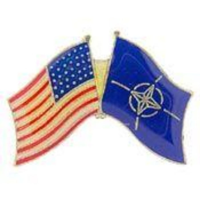 USA/NATO DUAL crossed FLAGS LAPEL PIN
