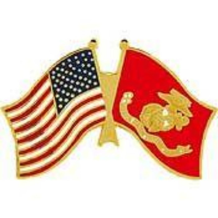 US MARINE CORPS DUAL FLAGS LAPEL PIN (LRG)