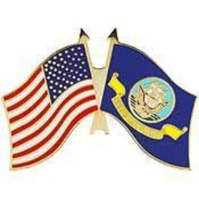 US NAVY DUAL crossed FLAGS LAPEL PIN (Large)