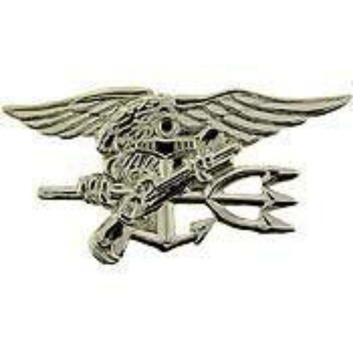 US NAVY SEAL TEAM SILVER TRIDENT LAPEL PIN (Large)