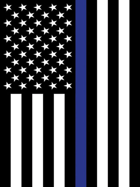 black and white american flag with a blue stripe down the center
