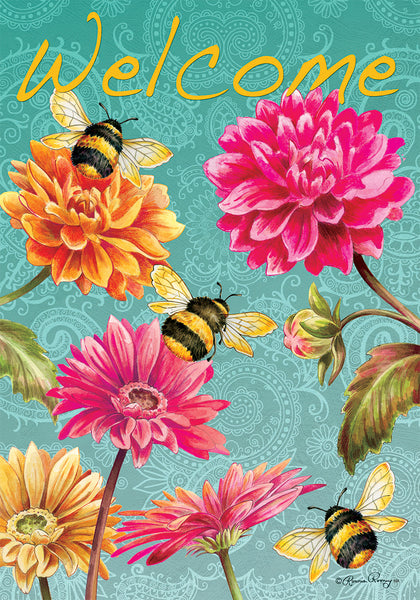 BUMBLEBEES IN THE GARDEN DECORATIVE FLAG