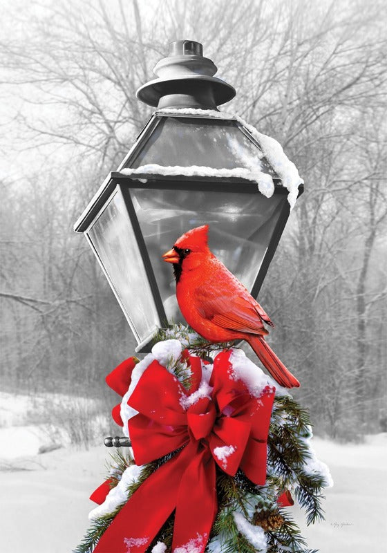 red cardinal sitting on ribbon and pine needles attached to a black lamp post with black and white background