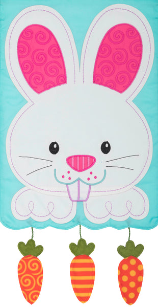 Bunny & Carrots Applique Garden Flag
