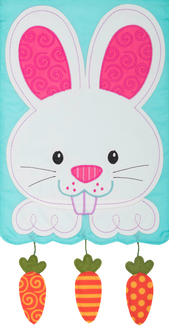 BUNNY AND CARROTS APPLIQUE GARDEN FLAG