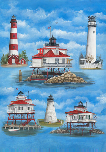 Delmarva Lighthouses Garden Flag