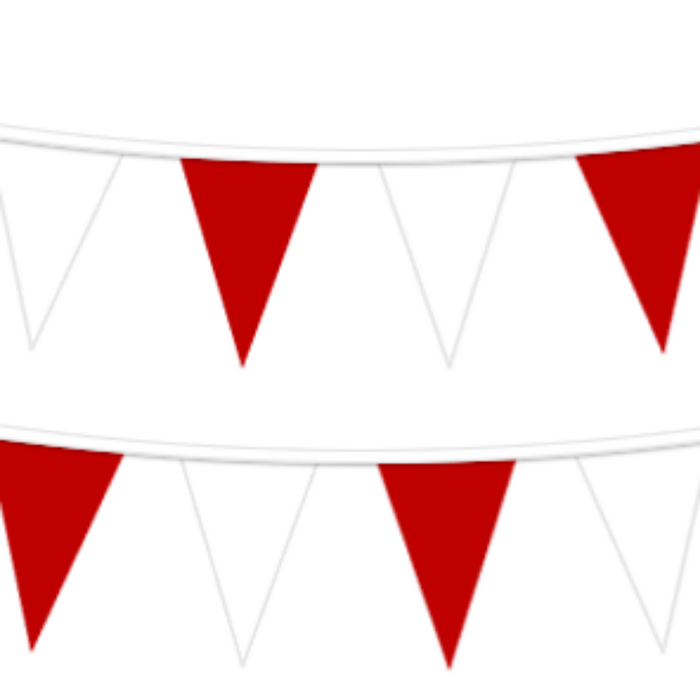 alternating red and white v shaped pennants