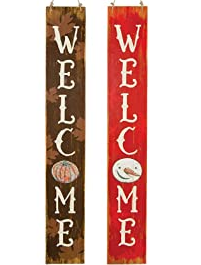 WELCOME SNOWMAN & PUMPKIN REVERSIBLE SIGN