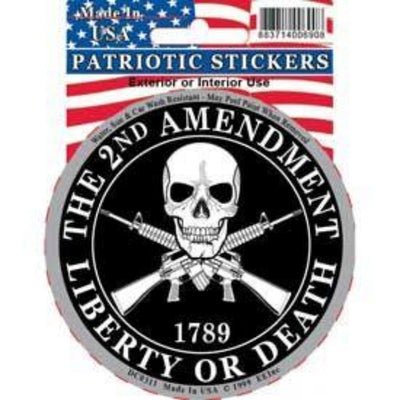 "CIRCLE STICKER WITH A SKULL DESIGN AND GUNS BEHIND IT WITH HOLOGRAPHIC EDGES AND TEXT SAYING ""THE 2ND AMENDMENT LIBERTY OR DEATH"""