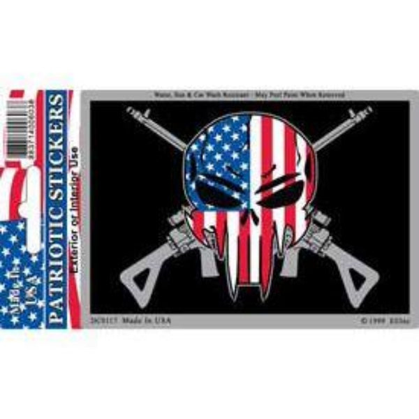AMERICAN FLAG DESIGN INSIDE A SKULL WITH GUNS BEHIND IT ON A BLACK BACKGROUND AND HOLOGRAPHIC EDGES