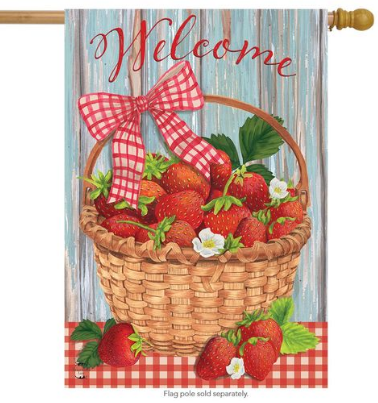 STRAWBERRY WELCOME BANNER FLAG