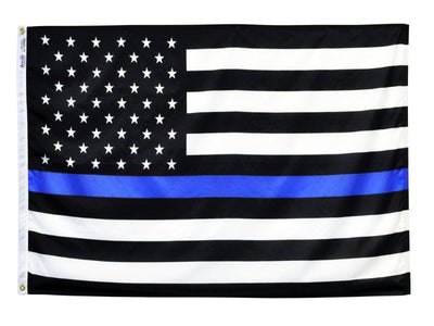 BLACK AND WHITE AMERICAN FLAG WITH A BLUE STRIPE IN THE CENTER