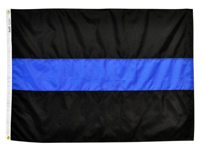 solid black flag with a single sewn blue stripe in the center