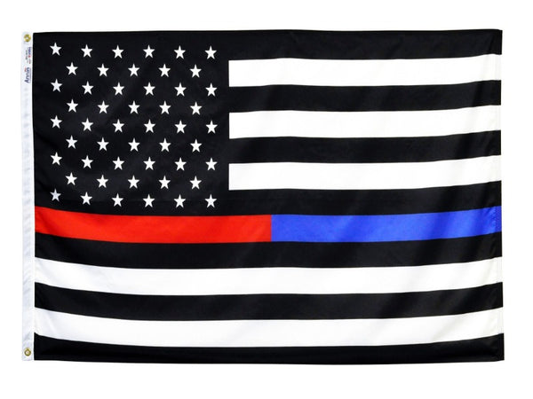 BLACK AND WHITE US FLAG WITH A SINGLE BLUE AND RED STRIPE DOWN THE CENTER