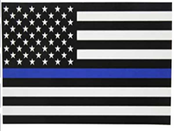 BLACK AND WHITE US FLAG WITH A SINGLE BLUE STRIPE DOWN THE CENTER