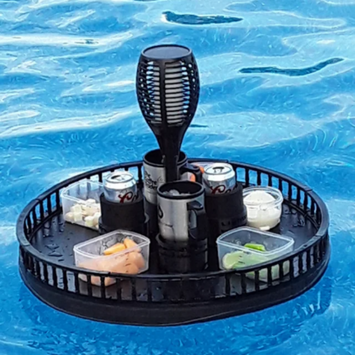floating pool tray with 4 cup holders and tiki solar light