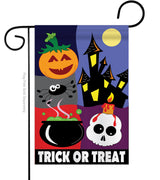 TRICK OR TREAT NIGHT APPLIQUE DECORATIVE FLAGS
