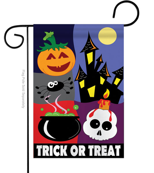 TRICK OR TREAT NIGHT APPLIQUE DECORATIVE FLAG