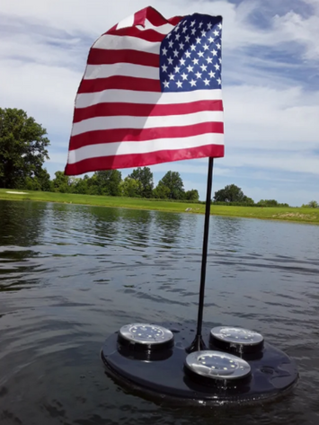 american flag with floating solar light for lake or pool