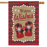 WARM WISHES WINTER BURLAP FLAG