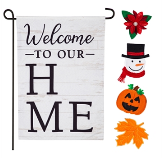 Welcome To Our Home Interchangeable Icon Linen Garden Flag