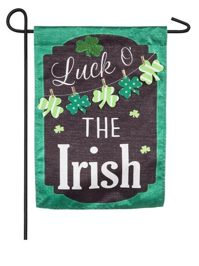 "chalkboard style black and green flag with the words ""luck o' the irish"""