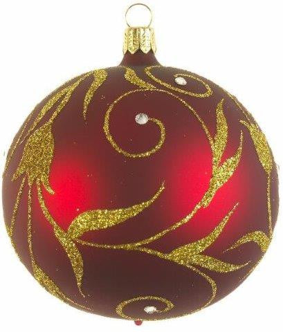 Red and Gold Decorative Scroll Ball 4""