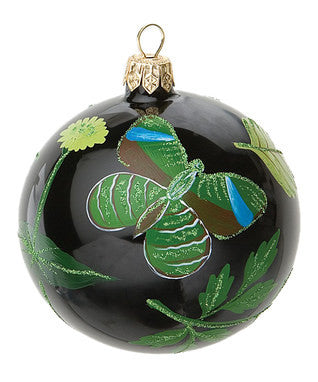 "4 3/4"" Black Jeweled Butterfly Ornament"