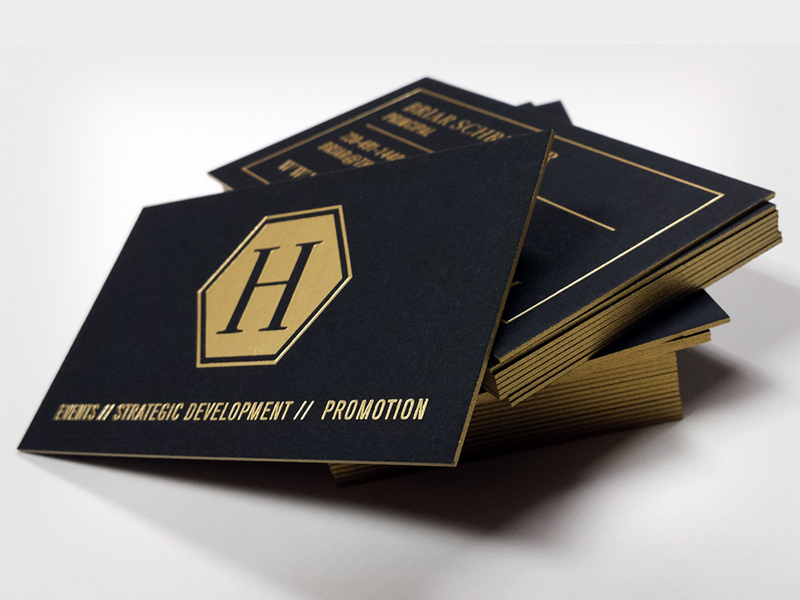 The hype house fino print black business cards 700gsm black paper gold foil gold metallic ink on the edge reheart Gallery