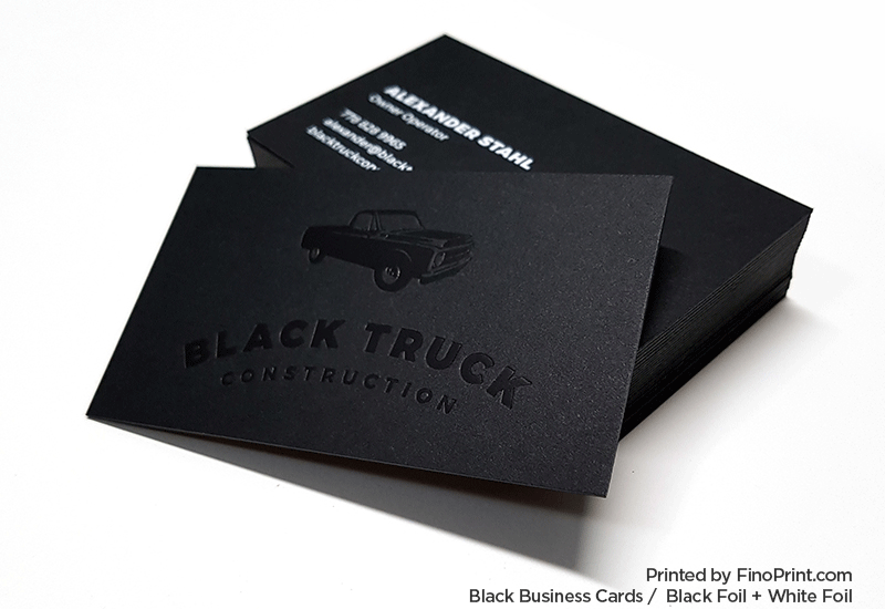 Black Business Card, Black Foil, White Foil