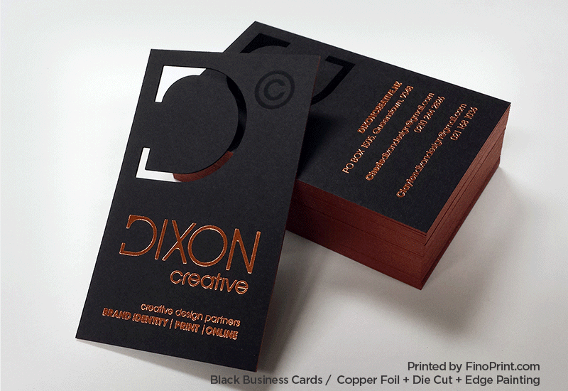 Black Business Card, Copper Foil, Die Cut, Edge Painting