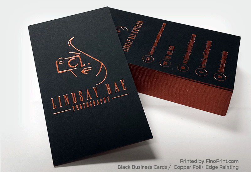 Black Business Card, Copper Foil, Edge Painting