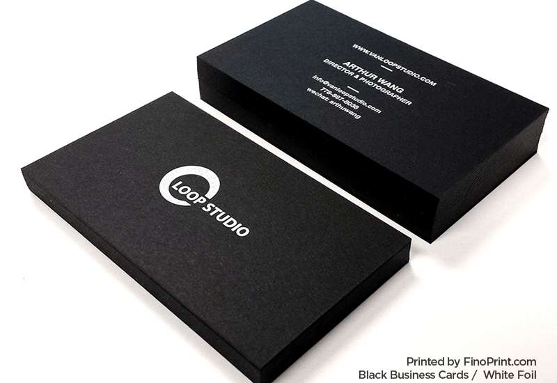 Black Business Card, White Foil