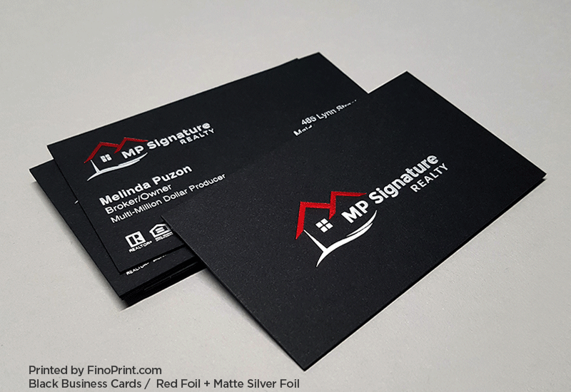 Black Business Card, Red Foil, White Foil