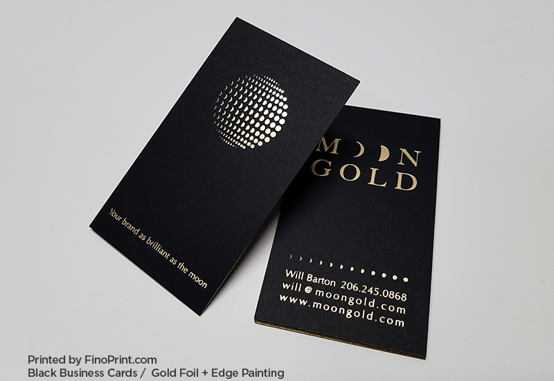 Black Business Card, Gold Foil, Edge Painting
